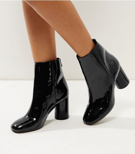 Wide Fit Black Patent Cylindrical Heel Ankle Boots | New Look