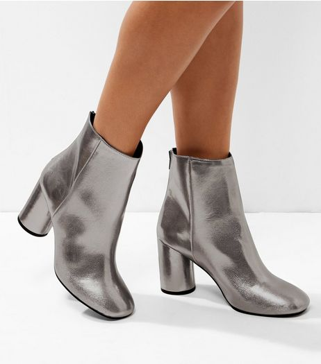 Wide Fit Pewter Metallic Cylindrical Heel Ankle Boots | New Look