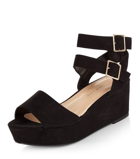 Teens Black Ankle Strap Platform Wedges | New Look