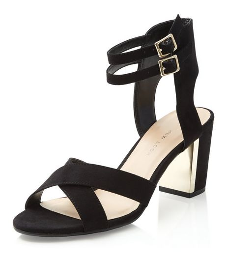 Teens Black Suedette Ankle Strap Sandals | New Look