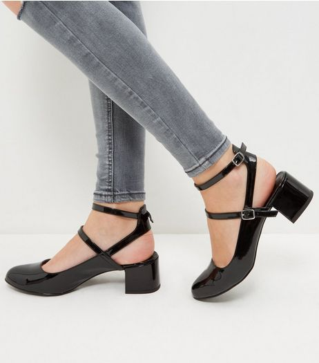 Wide Fit Black Patent Multi Strap Sling Back Pumps  | New Look