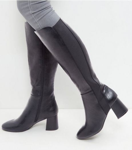 Black Leather-Look Block Heel Knee High Boots | New Look