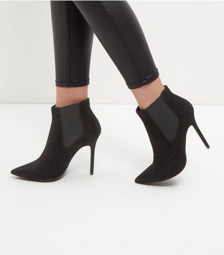 Black Suedette Pointed Heels  | New Look