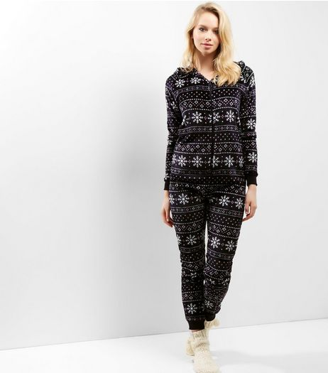 Blue Fairisle Hooded Onesie | New Look