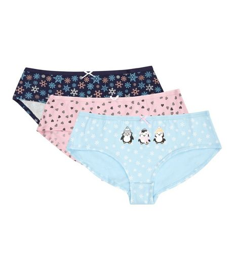 Teens 3 Pack Blue and Pink Penguin and Snowflake Briefs | New Look