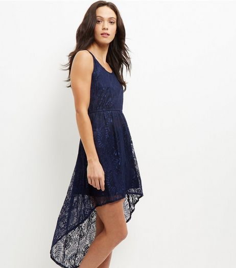 Mela Navy Lace Dip Hem Dress | New Look