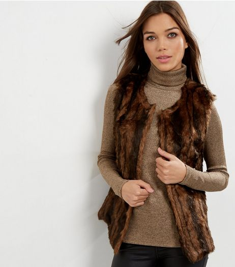 Mela Brown Faux Fur Gilet  | New Look