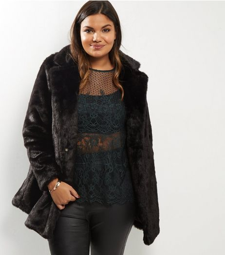 Curves Black Faux Fur Coat | New Look