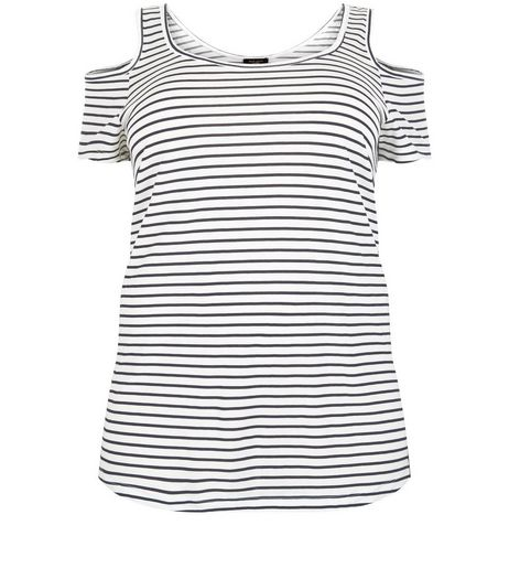 Curves White Stripe Cold Shoulder Top | New Look