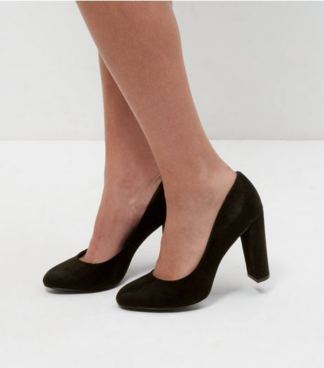 Wide Fit Black Suedette Block Heels  | New Look