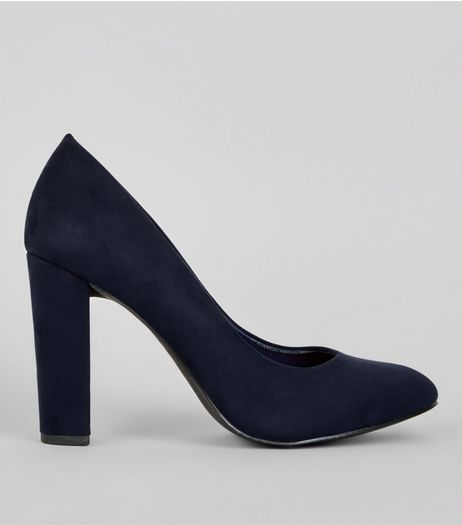 Wide Fit Navy Suedette Block Heels | New Look