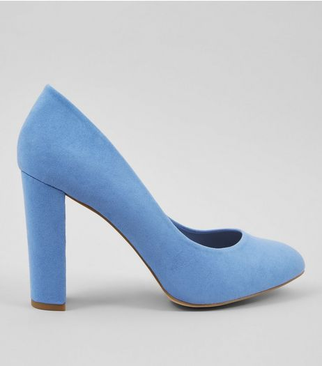 Wide Fit Blue Suedette Block Heels | New Look