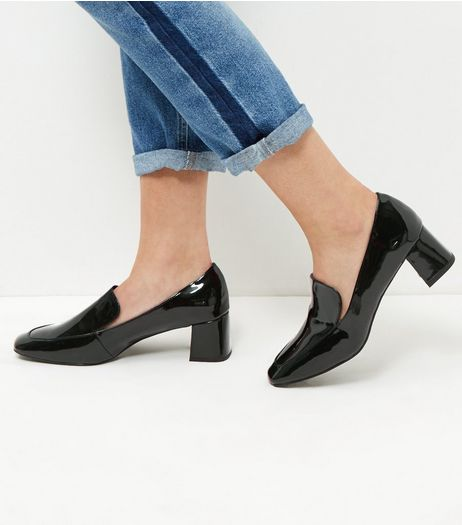 Wide Fit Black Patent Block Heel Loafers | New Look