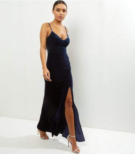 Navy Velvet Strappy Split Side Maxi Dress | New Look