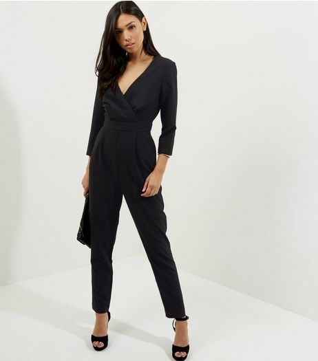 Black Long Sleeve Tie Wasit Jumpsuit  | New Look