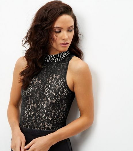 Black Sheer Lace Embellished Bodysuit | New Look
