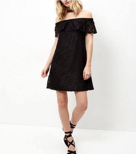 Cameo Rose Black Lace Bardot Neck Dress | New Look