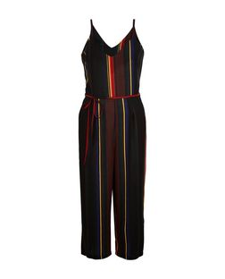 Cameo Rose Black Stripe Culotte Jumpsuit | New Look