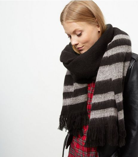 Black Stripe Scarf | New Look