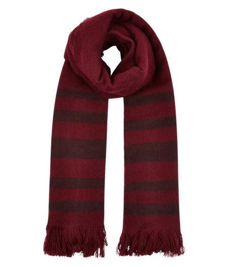 Dark Red Stripe Scarf | New Look