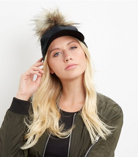 Black Leather-Look Faux Fur Pom Pom Cap | New Look