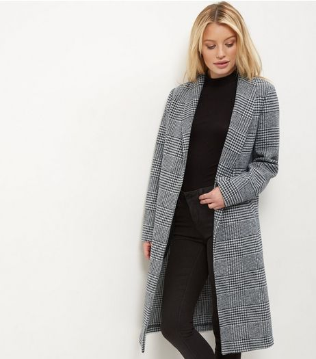 Grey Check Longline Coat | New Look