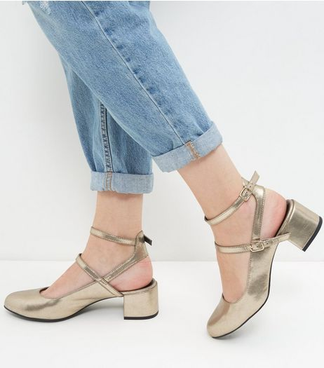 Wide Fit Gold Patent Double Strap Sling Back Pumps  | New Look