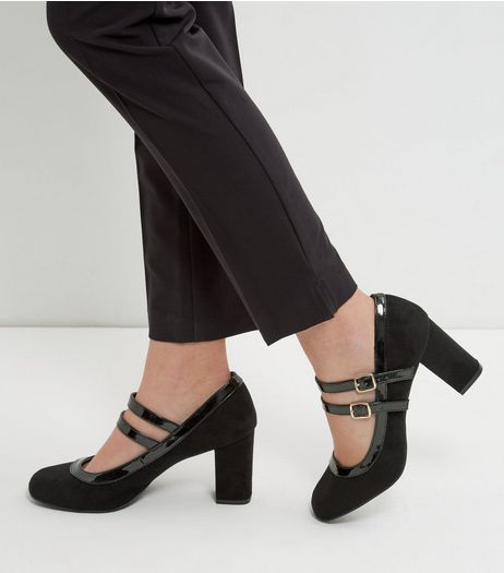 Wide Fit Black Comfort Suedette Double Ankle Strap Block Heels | New Look