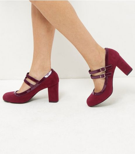 Wide Fit Dark Red Comfort Suedette Double Ankle Strap Block Heels | New Look