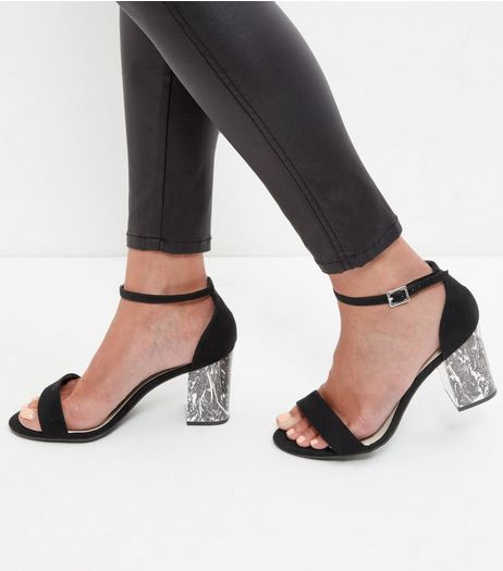 Wide Fit Black Marble Block Heels | New Look