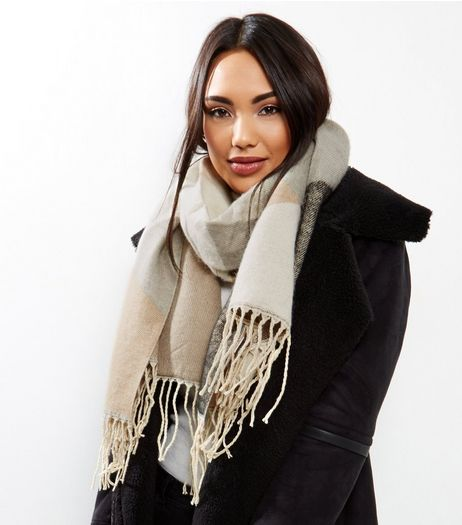 Mink Abstract Print Scarf | New Look