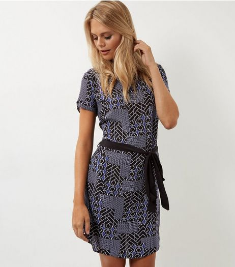 Black Geo Print Belted Tunic Dress | New Look
