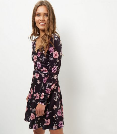 Black Velvet Floral Print V Neck Skater Dress  | New Look