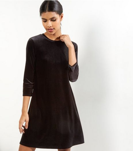 Black Velvet Swing Dress | New Look