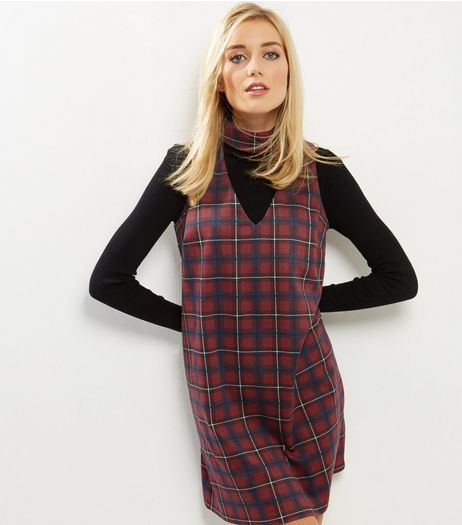 Red Check Choker Neck Tunic Dress | New Look