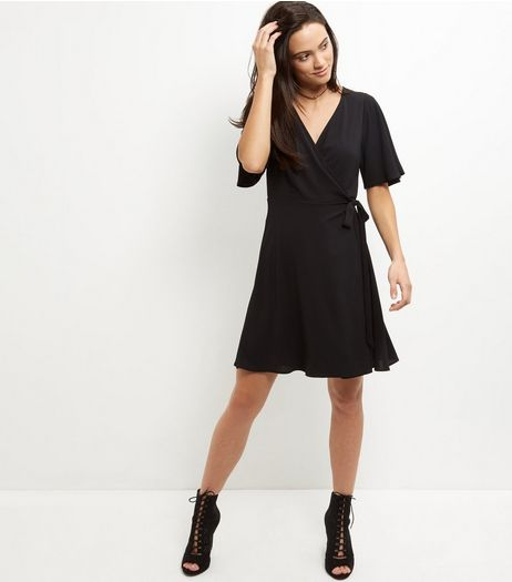 Black Wrap Front Tie Side Dress   | New Look