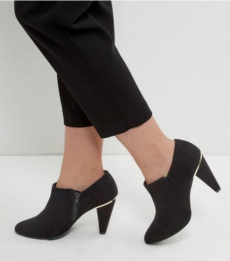 Black Wide Fit Suedette Metal Trim Shoe Boots | New Look