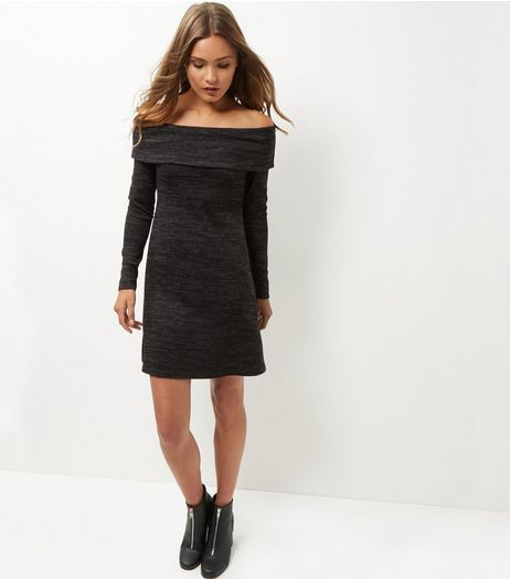 Dark Grey Textured Space Dye Long Sleeve Swing Dress  | New Look