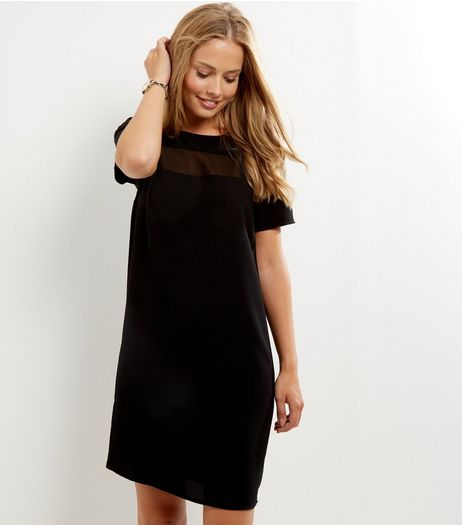Black Sheer Panel Tunic Dress | New Look