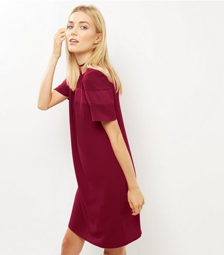 Burgundy Sheer Panel Tunic Dress | New Look