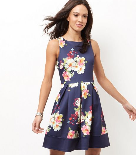 Blue Floral Print Pleated Skater Dress  | New Look