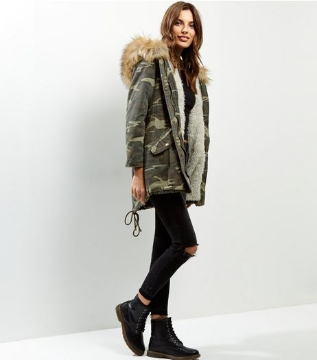 Blue Vanilla Green Camo Print Faux Fur Trim Parka | New Look