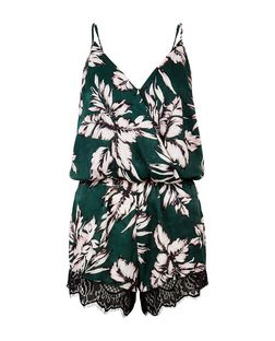 Cameo Rose Green Palm Leaf Print Lace Trim Playsuit | New Look