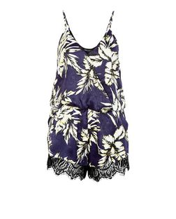Cameo Rose Blue Palm Leaf Print Lace Trim Playsuit | New Look