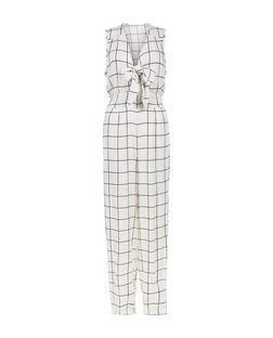 Cameo Rose White Grid Check Tie Front Jumpsuit | New Look