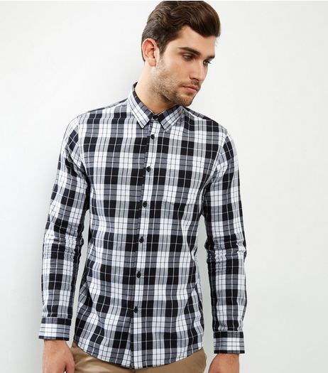 Black Check Cotton Long Sleeve Shirt | New Look