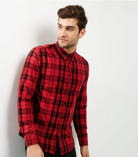 Red Check Cotton Long Sleeve Shirt  | New Look