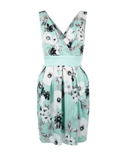 Apricot Green Poppy Print V Neck Tie Waist Dress | New Look