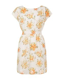 Apricot Cream Floral Print Tie Waist Dress | New Look