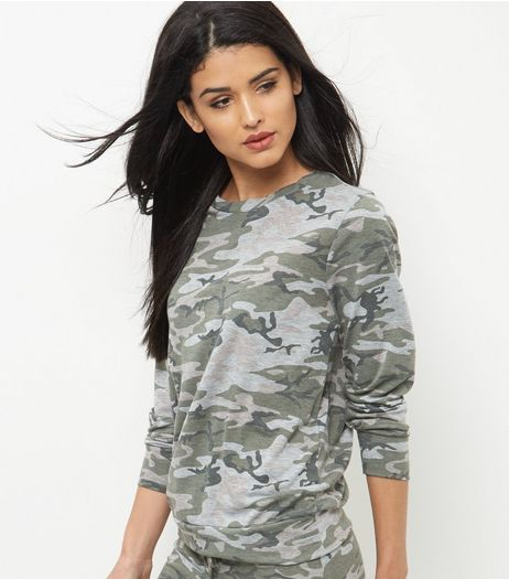 Green Camo Print Sweater  | New Look